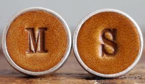 Leather Monogrammed Cufflinks